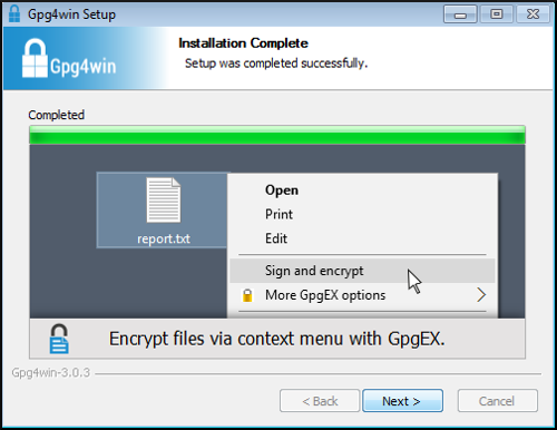 completion installateur gpg4win